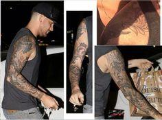 Tattoo #9 (2014): Adam Lambert adds an inside upper arm tattoo to his sleeve. Looks fabulous!