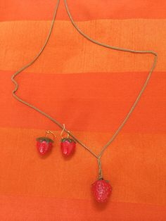 Strawberry earrings and chain. Two Hands, Strawberry, Pendant Necklace, Chain, Earrings, Shop, Jewelry, Ear Rings, Stud Earrings