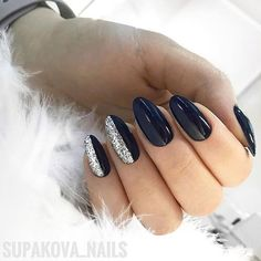 36 Perfect and Outstanding Nail Designs for Winter dark color nails; nude and sparkle nails; Dark Color Nails, Nail Colors, Dark Gel Nails, Navy Nails, Navy Nail Art, Gel Nagel Design, Almond Nails Designs, Almond Acrylic Nails, Sparkle Nails