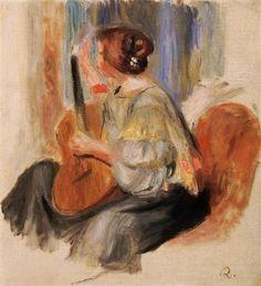 Pierre-Auguste Renoir, woman with guitar. on ArtStack #pierre-auguste-renoir #art