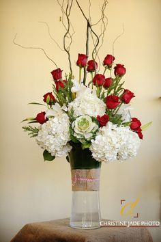 vase hydrangea and red flowers - Google Search