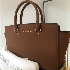 MICHAEL Michael Kors Selma Saffiano Handbag Large Color: Luggage. Basically Brand New. I only wore it out once and it has been in its protective duster bag since. Michael Kors Bags Satchels