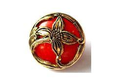 6 Vintage flowers buttons gold color flower Art Nouveau  style on red plastic  25mm. $6.00, via Etsy.
