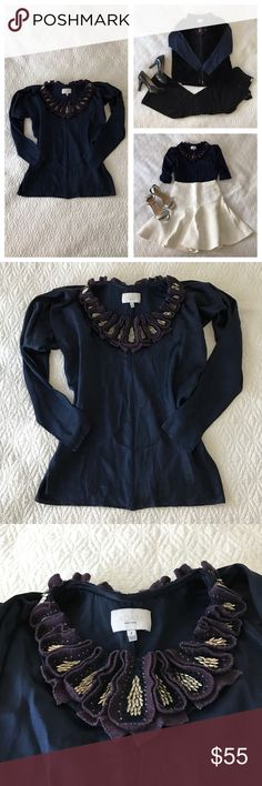 "ADAM by Adam Lippes embellished top, sz 4 Navy blue silk blouse with stunning decorative neckline from ADAM by Adam Lippes. Neckline all around features dimensional felt shapes, decorative stitching, and unique beading, dolman sleeves.  🍈 Size 4 - bust 50"", waist 30"", length 21"" 🍈 Condition: good 🍈 Material: 100% silk Adam Lippes Tops Blouses"