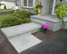 How To Transform Your Cracked Concrete Steps Into A Warm Welcoming Entryway - updating front entrance with flagstone, concrete masonry, curb appeal, landscape, stairs Front Yard, Stair Makeover, Concrete Front Steps, Front Porch Steps, Front Patio, Front Entrances, Flagstone, Front Walkway, Front Yard Landscaping