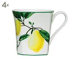 Set di 4 mug in porcellana bone china Lemon - 320 ml