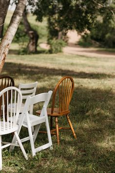 The simplicity of mismatched chairs in an open field. Photo by Alex Priebe Chairs by Yours For Your Day | Colorado