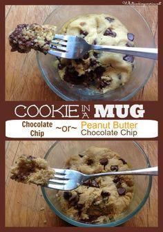 Cookie In A Mug Recipe - Chocolate Chip or Peanut Butter Chocolate Chip
