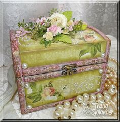 WOULDN'T THIS BE A GREAT MOTHER'S DAY GIFT!!! Redo of a dollar store chest! Beautiful. TUTORIAL.
