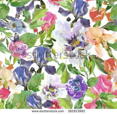 Seamless pattern watercolor artwork illustration flowers and leaves on top of each other  - stock photo