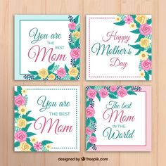 Mother's day card with colored flowers Free Vector