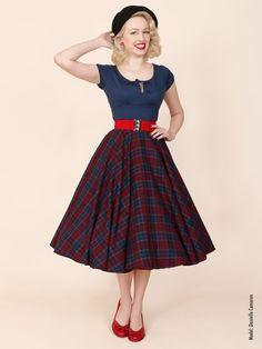 Vivien of Holloway 1950's Circle Skirt Burgundy Crepe Tartan