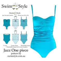 Jazz One piece sewing pattern Features Ruche detail & 3 strap options. A very feminine style
