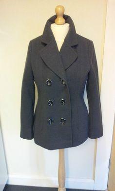 Ladies Womens Pea Coat Jacket Size 12 Grey Very Smart.
