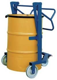 """Drum Controller Transport 55 gallon steel drums from work area to work area with the heavy duty Drum Controller. This unit lifts drums off the ground 21⁄4"""" with minimal effort (all this is done without straps or ratchet). To lift drums, center the arms around the drum below the upper rib, and pull the handle down. Inside straddle width is 25"""". Unit rolls smoothly on 8"""" x 2"""" phenolic casters."""