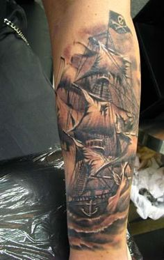pirate ship tattoo design - Google Search