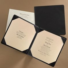 Impress your guests and set the tone with this elegant folder invitation.  Various paper stock options.