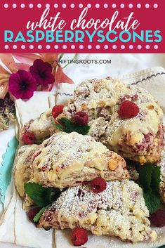 White Chocolate Raspberry Scones Seriously, you need these raspberry white chocolate scones in your life. They're an easy and simple summer dessert recipe that is perfect for breakfast, dessert, or as a snack. Summer Dessert Recipes, Healthy Breakfast Recipes, Fun Desserts, Dessert Ideas, Raspberry Recipes, Fruit Recipes, Cooking Recipes, Scone Recipes, Bread Recipes