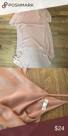 Dusty rose slip dress Floaty chiffon with slight high low hem. Worn for one party and dry cleaned. Front hem hits just above knee. Dresses High Low