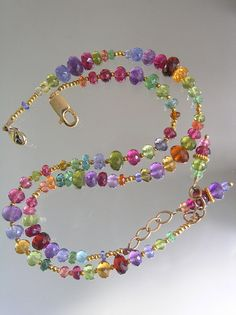 Undulating Rainbow...Spessartite Tanzanite Pink Tourmaline Vermeil Signature Original Layering Bracelet