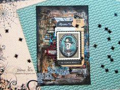 Elena Arts: Una tarjeta terrorífica! Reto Halloween en Scrapbo... Halloween, Shabby Chic, October, Scrapbook, Ideas, Modeling Paste, Artists, House, Scrapbooking