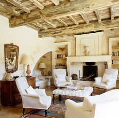 Former barn in Provence decorated by Sally Jeeves - love the nook in the corner