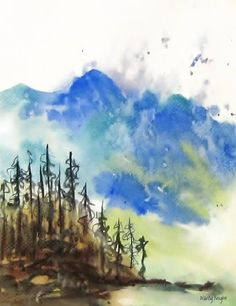 Landscape Watercolor Painting Peaceful Landscape by NancyKnightArt