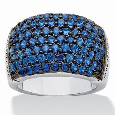 Palm Beach Jewelry PalmBeach Round Deep Sea Blue Spinel Ring in... ($38) ❤ liked on Polyvore featuring jewelry, rings, blue, round cut rings, blue band ring, beach jewelry, long rings and pave setting ring
