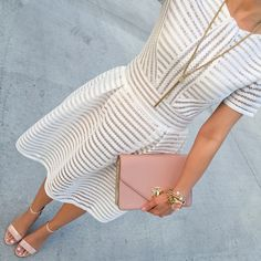 Romwe Striped Flare White Dress with Zipper, Gold Tassel chain necklace, BP Luminate Open Toe Dress Sandal in Blush Patent