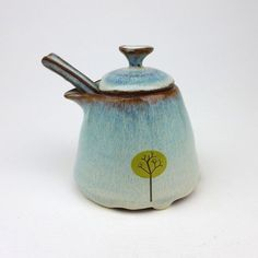 Yellow Tree Pot with Pouring Spout and Handmade Spoon