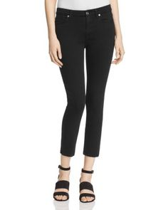 7 For All Mankind b(air) Kimmie Crop Jeans in Black   Bloomingdale's
