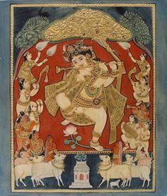 Venugopala See more at https://www.madhurya.com/tanjore-paintings/krishna/little-krishna-tanjore-painting.html #krishnapaintings