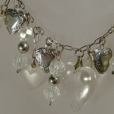 Vintage sterling silver and glass hearts