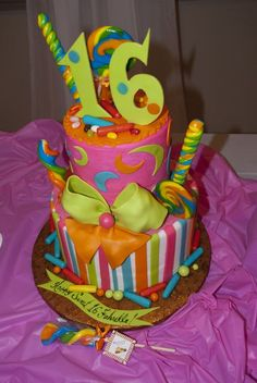 Sweet 16th Candy Themed Celebration Cake