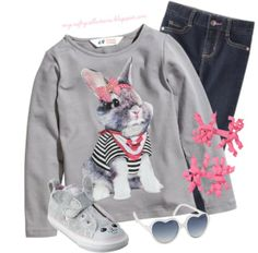 Toddler Girl's Outfit: Some'bunny' Love You! - Featuring items from H&M, Gap, Target, and Gymboree.