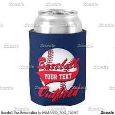 Baseball Fan Personalize Can Cooler
