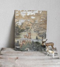 Antique Hand Painted Tin  Woodland Deer Scene by solsticehome