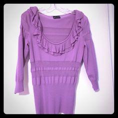 Lavender Ruffle-Neck Sweater 3/4 sleeve lavender ruffle neck sweater from Windsor! WINDSOR Sweaters Crew & Scoop Necks