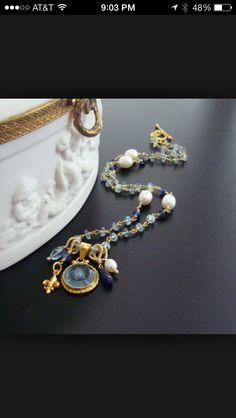 99efd83cc So pretty Venetian Glass, Blue Topaz, Intaglio, Bracelet Watch, Georgian,  Pearl