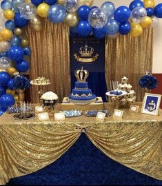 2020 Graduation Ideas Discover gold and royal blue prince crown baptism christening birthday baby shower backdrop sign poster banner party decor king 6072 Baby Shower Backdrop, Boy Baby Shower Themes, Baby Boy Shower, Royal Baby Shower Theme, Prince Themed Baby Shower, Royal Theme, Quinceanera Decorations, Birthday Decorations, Baby Shower Decorations
