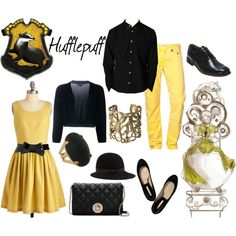 In honor of Pottermore beta testing out, I've decided to do all of the houses, AGAIN! I'm starting with Hufflepuff because it was the house I was sorted into. Harry Potter Dress Up, Harry Potter Style, Harry Potter Outfits, Themed Outfits, Inspired Outfits, Fashion Art, Fashion Outfits, Cool Style, My Style