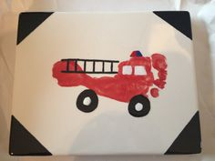 Fire truck footprint - this would make a cute coaster/framed art for a Father's Day gift. Father's Day gift ideas, firefighter fathers' day, firefighter gifts, father's day gifts, dad and grads. Firefighter Crafts, Firefighter Baby, Firefighter Quotes, Volunteer Firefighter, Baby Crafts, Fun Crafts, Crafts For Kids, Cute Coasters, Fathers Day Crafts