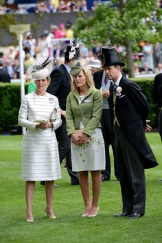 Their Royal Highnesses the Earl and Countess of Wessex with Amber Phillips are seen in the parade ring during Royal Ascot 2015 at Ascot racecourse