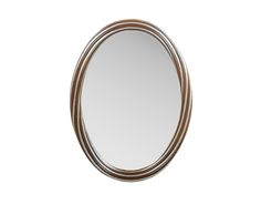 The Adele Mirror by Alden Parkes | Hand-carved oval mirror of solid mahogany wood with beveled glass. Alternating braids of Burnished Silver and 18th Century Mahogany. Also available in solid Antique Gold or Burnished Silver. Designed by Jon Spurlock, ASID.