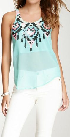 Mint Sequin Dream Catcher Tank -  this gives me a great idea for a crochet top, too