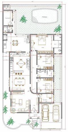 Projeto de casa térrea de 3 quartos com 170,35m² | Projeto de casa térrea de 3 quartos com 170,35m²