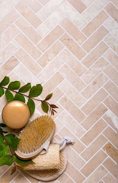 Crema Marfil Herringbone Polished Marble Mosaic Tile for a Creamy Brick Pattern that Adds Warmth and Classic South of France or Mediterranean Style to any Bathroom or Kitchen Earthy Bathroom, Brick Bathroom, Bathroom Floor Tiles, Entryway Tile Floor, Brick Tile Floor, Brick Flooring, Kitchen Flooring, Cutting Edge Stencils, Marble Mosaic