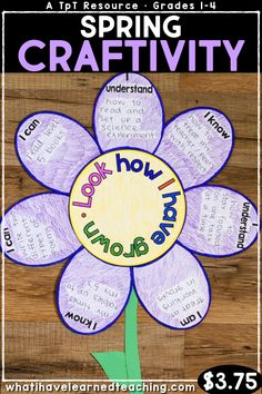 """Look How I Have Grown! Students reflect on their growth over the past year by writing and drawing about what they """"know, understand, can do and are"""". This is the perfect spring craft for your classroom. Counseling Activities, Therapy Activities, Group Activities, Classroom Crafts, Classroom Activities, Classroom Ideas, Daisy, End Of School Year, Student Teaching"""