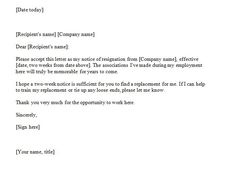 Two Week Notice Letter Example Doc. Writing A Two Week Resignation Letter U2013  40 Two Weeks .  2 Weeks Notice Letter Format