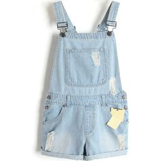 LUCLUC Light Blue Casual Fashionable Edge Curl Playsuits (£28) ❤ liked on Polyvore featuring jumpsuits, rompers, shorts, overalls, bottoms, light blue overalls, blue bib overalls, blue romper, playsuit romper and blue overalls
